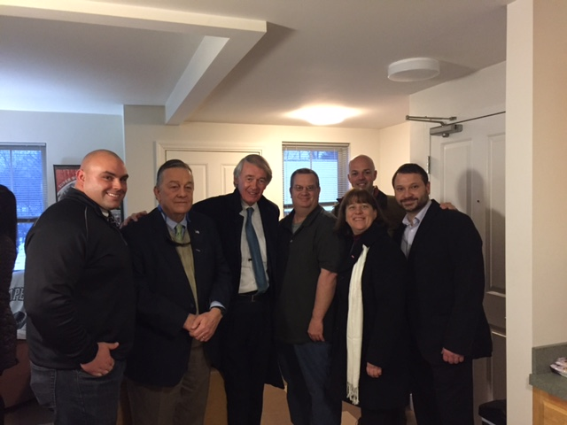 Left to Right: John Crane Director of Case Management, Jack Downing CEO, Senator Edward Markey, Jeff Snyder,State Senator Adam Hinds, State Representative Tricia Farley Bouvier, and Pittsfield City Councilor At-Large Pete White.