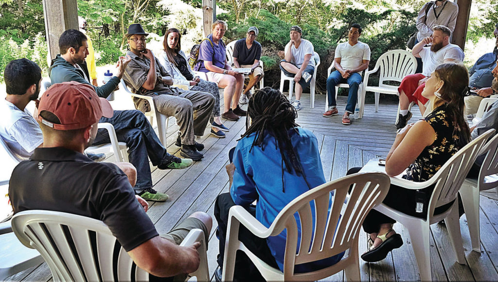 NINA COCHRAN - THE BERKSHIRE EAGLE  U.S. veterans in discussion with Roy Assaf and Avshalom Latucha at the Doris Duke Theatre at Jacob's Pillow. Becket, Mass. July 15, 2017.